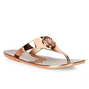 Michael Kors Rose Gold Lillie Jelly Sandals